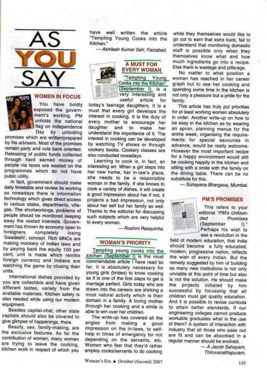 Reader feedback on article in Woman's Era magazine