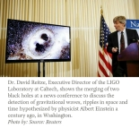 Director of LIGO lab shows merging of two black holes in press conference