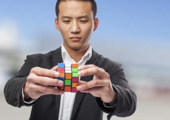 man with rubik's cube
