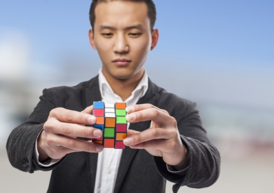man with rubik's cube